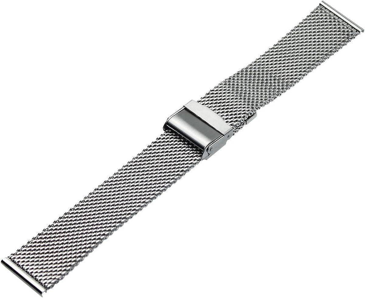 RECHERE Mesh Stainless Steel Bracelet Wrist Watch Band Strap Interlock Safety Clasp Silver 18 20 22 24mm