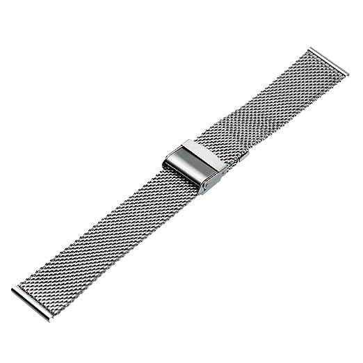 50088c3b3a9 RECHERE Mesh Stainless Steel Bracelet Wrist Watch Band Strap Interlock  Safety Clasp Silver (22mm)