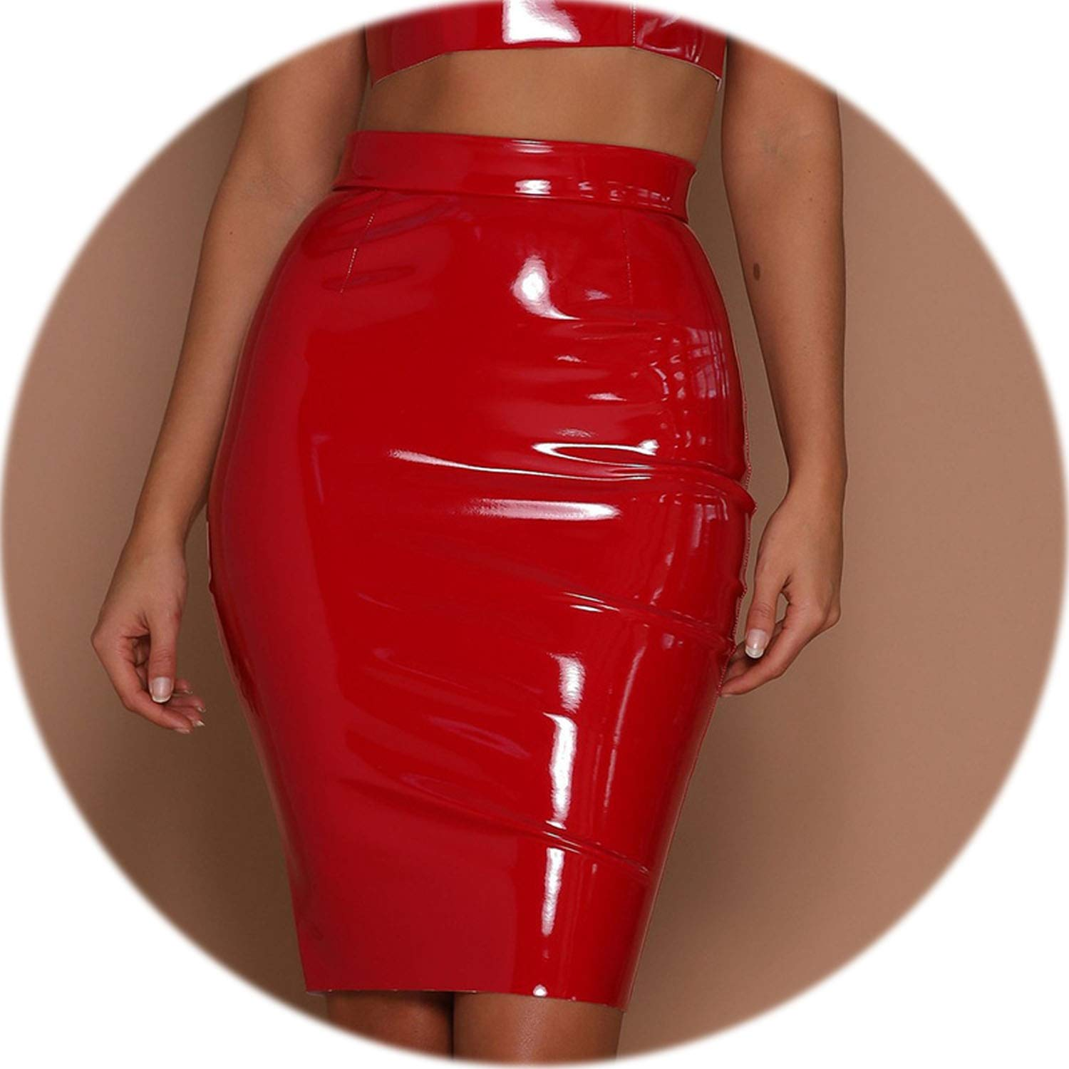 2cf056c53f Sexy Black PU Leather Pencil Skirt Women High Waist Bodycon Winter Skirt  Zipper Casual Party Short Skirts,Red,M: Amazon.ca: Clothing & Accessories