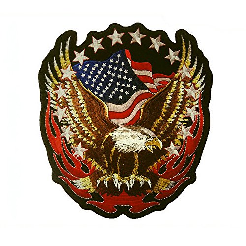 1pcs Large Patriotic Eagle American Flags Embroidered Iron On Patch(7.1x7.5 inch) ()