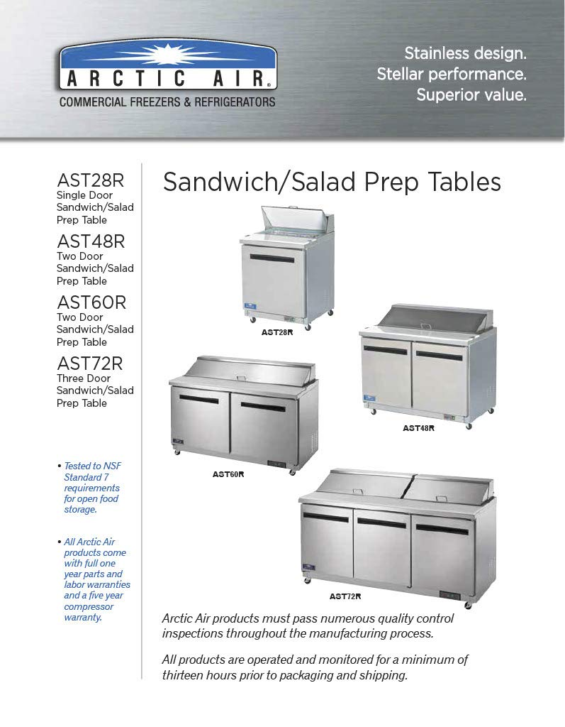 Arctic Air AST72R 72″ 3 Door Refrigerated Sandwich Prep Table