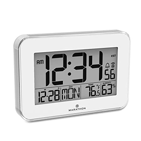 Marathon CL030060WH Designer Atomic Wall Clock with Polished Acrylic Bezel. Displays Calendar, Indoor Temperature and Humidity White Renewed