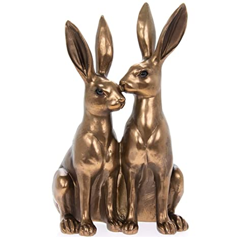 Thorne Antiques Collectables Mr Mrs Hare Ornament Pair Of Hares Statue In Choice Of Colours Bronze