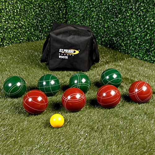 Tournament Pro Model Bocce Ball Set 107mm Balls- Professional Grade Full Set With Embroidered Travel Bag Resin Balls 2-4 Players- Perfect For Backyard, Picnics, Park Beaches Ans Leagues- Pure Joy by Pro-Grade