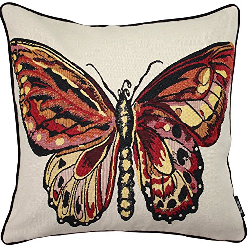 McAlister Textiles Bugs Life | Woven Tapestry Butterfly Pillow Cover | Red Embroidered 16x16 Throw Cushion Case | Textured Linen, Crewel Needlepoint | Country Accent Decor ()