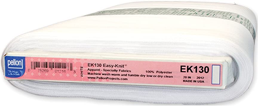 White Pellon Stacy Easy-Knit Fusible Tricot Interfacing 19//20-Inch by 25-Yard