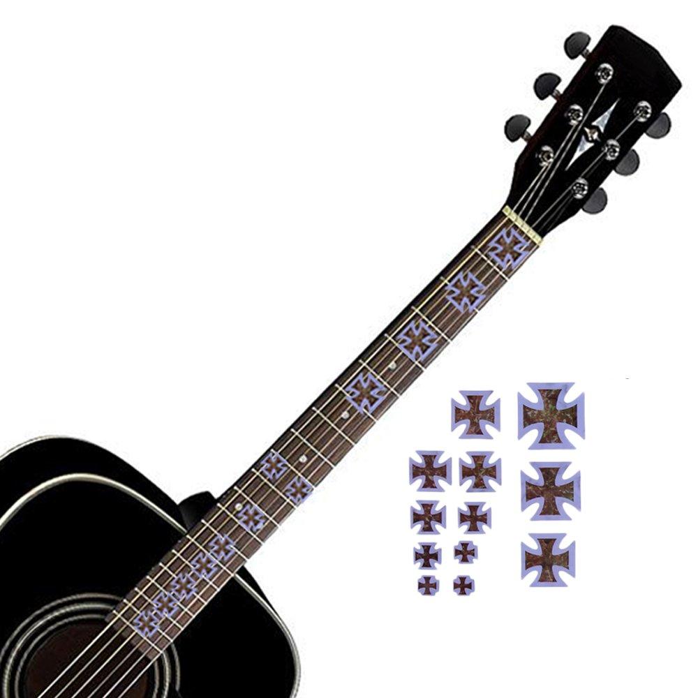 Yibuy 213/x 50/mm Touche marqueurs incrustation Autocollant Stickers pour guitare basse DIY cou jaune