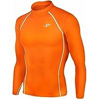 JustOneStyle New 137 Skin Tight Compression Base Layer Orange Running Shirt Mens S - 2XL