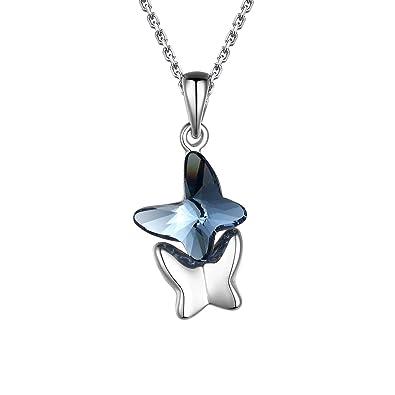 f0f16fdcf5e2 T400 Collar para Mujer Plata de Ley 925 quot Amantes Mariposas Colgante de  Mariposa Hecho con