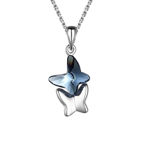 7cfb3e5cf12d T400 Collar para Mujer Amantes Mariposas Colgante de Mariposa Hecho con  Cristal de Swarovski Elements Azul-Regalos de Joyería para Mujeres