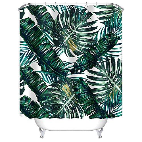 Uphome Palm Leaves Bathroom Shower Curtains, Customized Heav