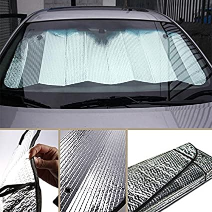 Lightweight Foldable Car Front Rear Windshield Double Sided Car Windshield Sun Shade Excellent UV Heat and Sun Reflector Silver Fit Windscreen Car Large Or Small