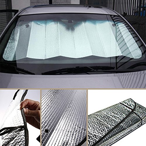 Price comparison product image Car Sun Shade, 13060cm Foldable Car Front Rear Windshield, Excellent UV Heat and Sun Reflector, Fit Windscreen Car Large Or Small(Silver)