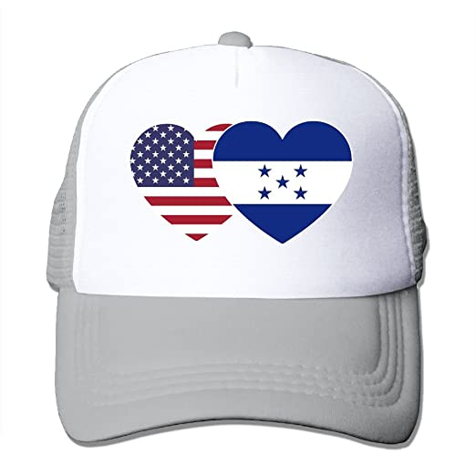 db02f5a3813e1 Amazon.com  Fdreattyuny Honduras USA Flag Twin Heart Fashion Baseball Cap  for Men and Women Adjustable Mesh Trucker Hat  Clothing