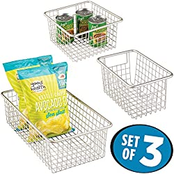 mDesign Household Wire Storage Basket with Handles for Kitchen Cabinets, Pantry, Bathroom - Set of 3, Satin
