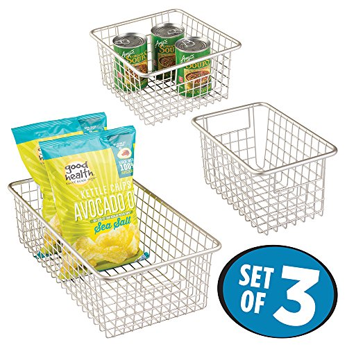 mDesign Household Wire Storage Basket with Handles for Ki...