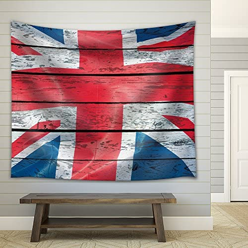 British Flag on a Wooden Background