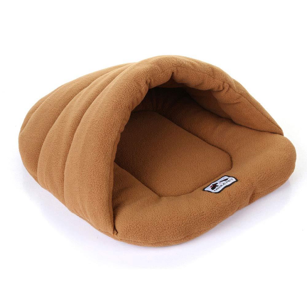 BROWN M BROWN M HUIFEI Warm Pet Sleeping Bag Pet Nest Kennel Cat Litter Rabbit Nest Large Medium And Small Pet Nest Pet House Nest (color   BROWN, Size   M)
