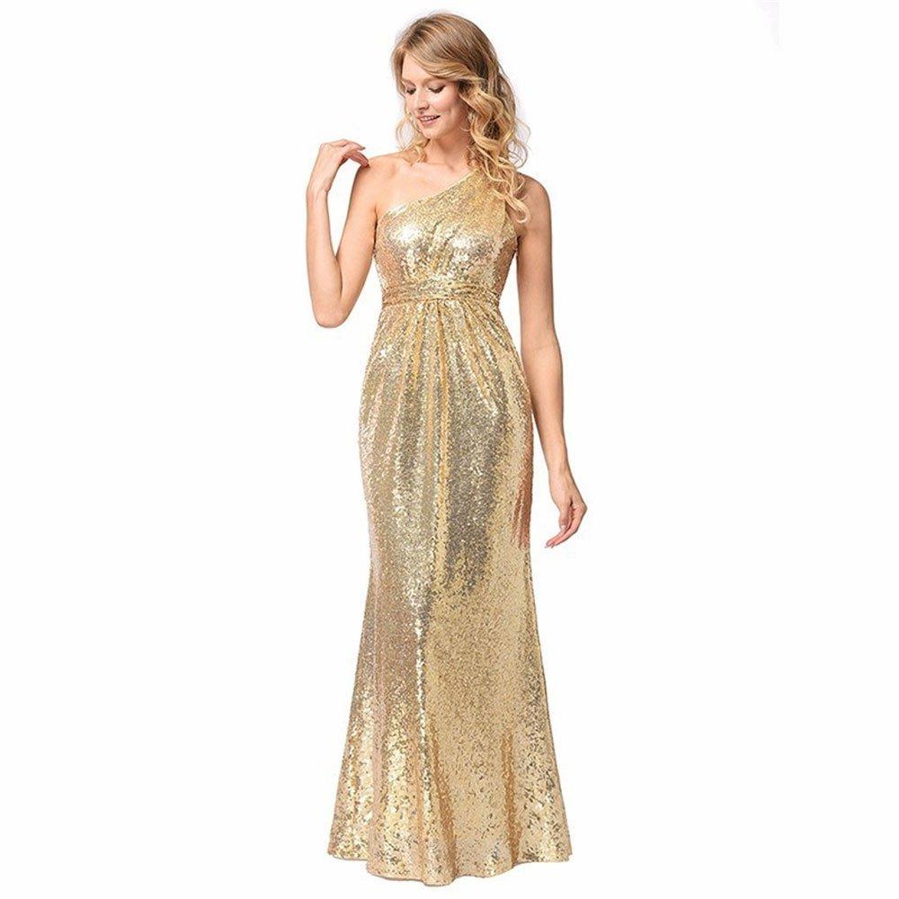 NONGNIML Dress Vestido de Noche Fiesta Nocturna Elegante Club Sequin Vestidos Mujer Vestido Nuevo Oro Sequined sin Respaldo Lateral con Cremallera Larga ...