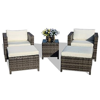Amazon Com Patiorama 5 Piece Patio Conversation Set Outdoor Chairs