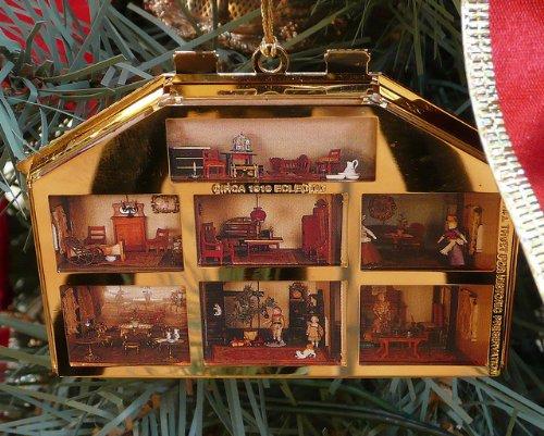 24K Gold Christmas Tree Ornament -- Bing & Grondahl Victorian Doll House -- Eclectic Design -- Circa 1910