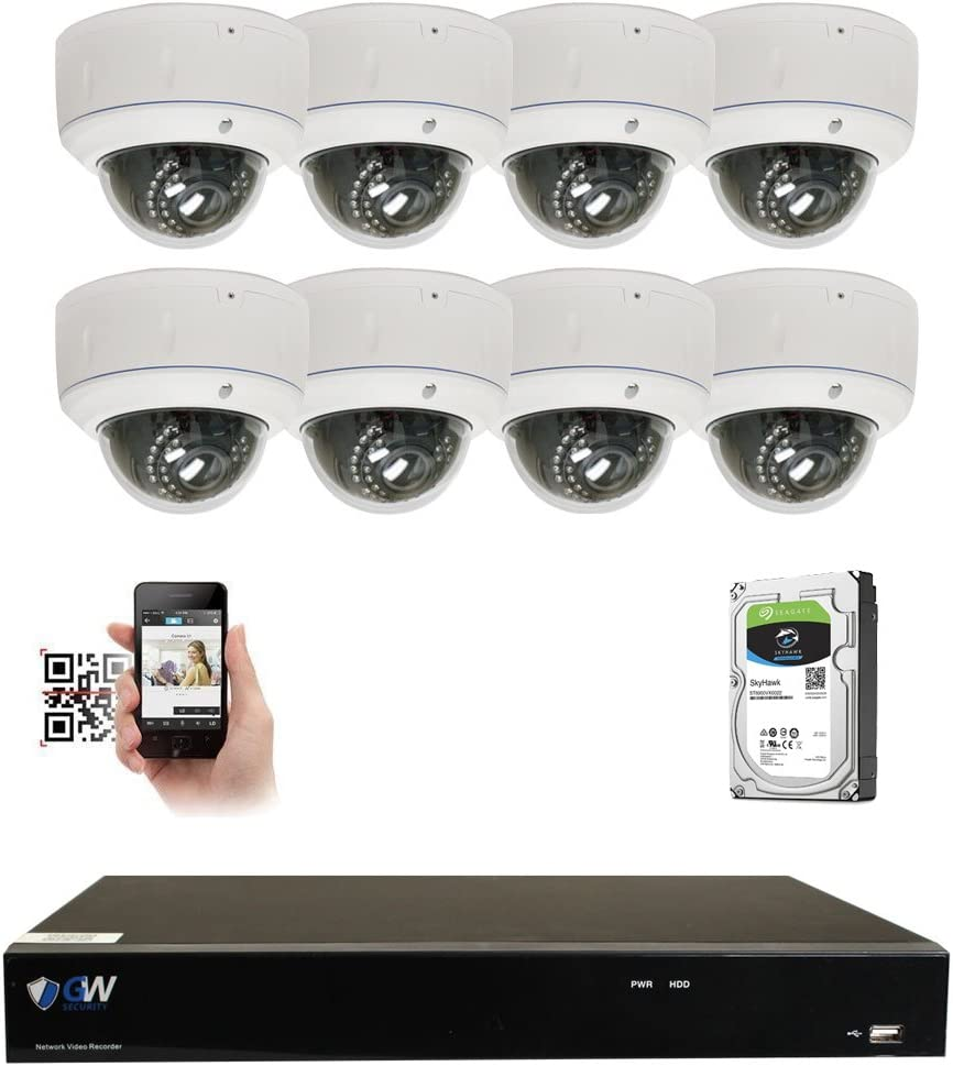 GW 8 Channel 4K NVR 5MP Video Security Camera System – Eight 5MP 1920P Weatherproof 2.8-12mm Varifocal Dome Cameras, 80ft IR Night Vision, Realtime Recording 1080p 30fps, Pre-Installed 3TB HDD