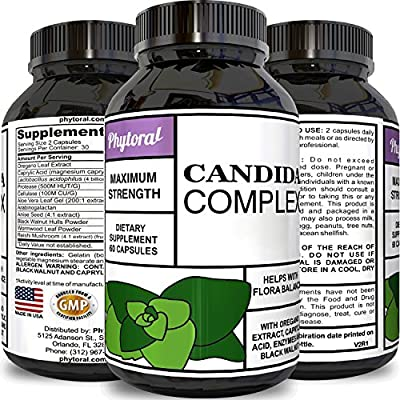 100% Pure Candida Formula Probiotics Yeast Cleanse Detox Digestive System Burn Belly Fat Weight Loss Benefits Oregano Oil Boost Health Energy Desire Hormone Balance Immune System by Phytoral
