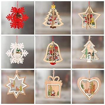 Queta Christbaumschmuck Holz Weihnachtsbaum Anhänger Dekoration 9er