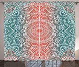 Coral and Teal Curtains Modern Tribal Mandala Tibetan Healing Motif with Floral Geometric Ombre Art Living Room Bedroom Window Drapes 2 Panel Set Coral Teal