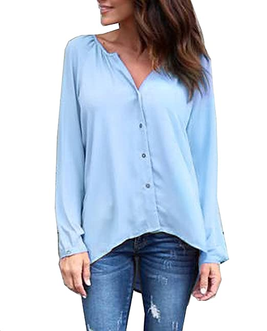 Camisas Mujer Elegantes Camisa De Gasa Manga Larga V Cuello Un Solo Pecho Blusas Moda Casual