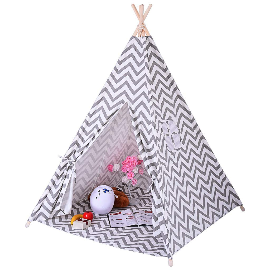 Agelloc Multi-Purpose Foldable Children Canvas Tent Boy and Girl Tent Indoor Outdoor TentIndian Tent for Kids Play Tent with Mat & Carry Case for Indoor Outdoor