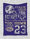 THndjsh Sports Decor Tapestry, Retro American Football College Version Illustration Athletic Championship Apparel, Bedroom Living Room Dorm Decor, 40 W x 60 L Inches, Blue White Yellow