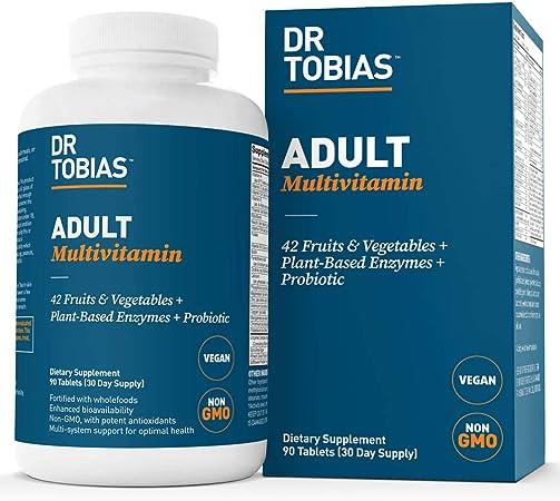 Dr. Tobias Adult Multivitamin, Vegan & Non-GMO, 90 Capsules (3 Daily)