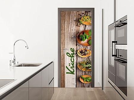GRAZDesign Türposter Küche - Türtapete Kräuter - Türaufkleber Küchentür -  Fototapete Bar / 67x213cm / 791719_67x213