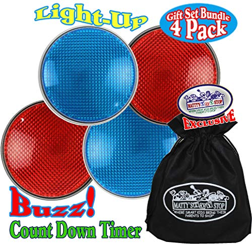 Matty's Toy Stop Lights & Sounds Electronic 3 Mode Red & Blue Game Answer Buzzer and Count Down Timer Gift Set Bundle with Bonus Storage Bag (Perfect for Games, Classrooms, etc.) - 4 Pack
