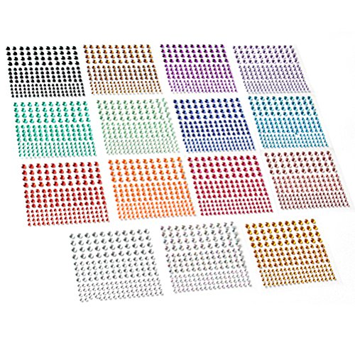 (2580 pcs Rhinestone Stickers in 15 Colors & 3 Sizes, 15 Sheets DIY Self Adhesive Colorful Gem Rhinestone Embellishment Stickers Sheet Fits for crafts, body, nails, etc. (Multi-color))