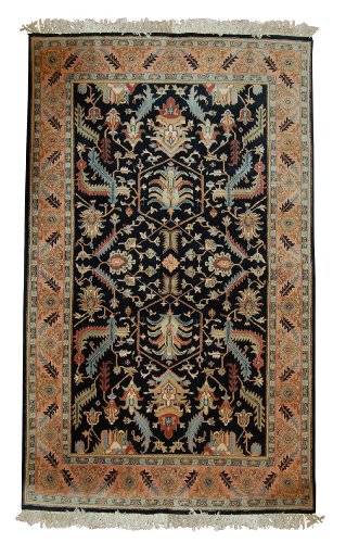 (New Hand Knotted SERAPI Rug Woven with New Zealand Worsted Wool 6 X 9 Handmade Wool Area Rugs in Art Deco Floral Design Navy / Salmon Color Will Match Any)