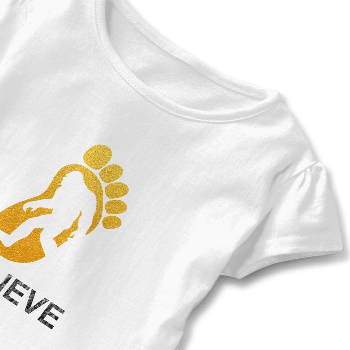 Cheng Jian Bo I Believe Bigfoot Toddler Girls T Shirt Kids Cotton Short Sleeve Ruffle Tee