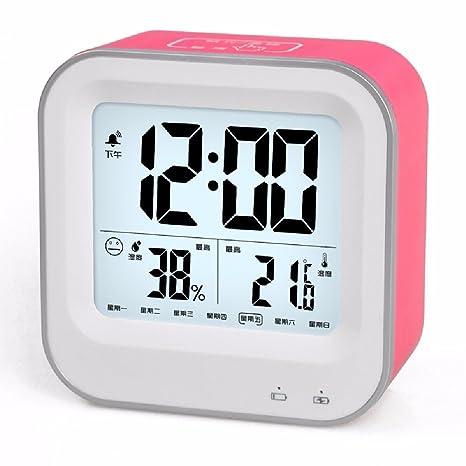 HQLCX Reloj de pared Recargable Led Alarma Mute Estudiante Hermosa Luminoso Higrometro Electrónico Reloj Snooze,
