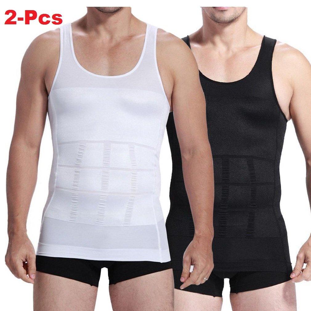 2-pcs Mens Slim Body Shaper Compression Elastic Undershirt, Tank Vest Shapewear, Abs Abdomen Slim Compression (S to XXL white + black) + 1 RFID Blocking Credit Card Sleeve CNDW