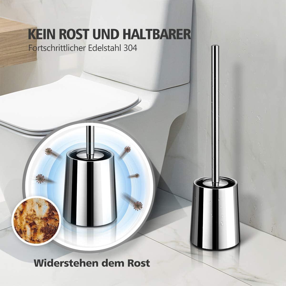 Scopino per WC in acciaio inox 304 con manico lungo Homemaxs scopino per WC nascosto per bagno supporto per superficie specchiata