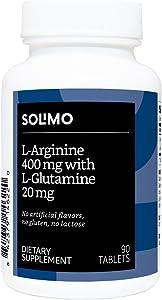 Amazon Brand - Solimo L-Arginine 400 mg with L-Glutamine 20 mg, 90 Tablets