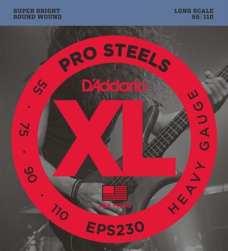 D'Addario EPS230 ProSteels Bass Guitar Strings, Heavy, 55-110, Long Scale