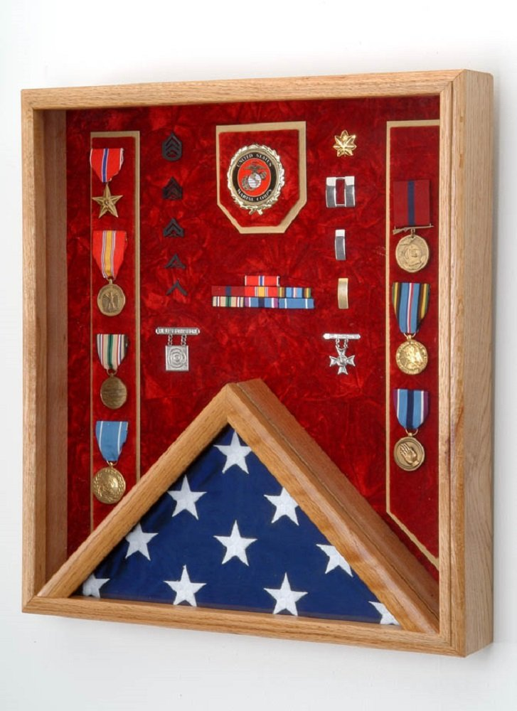 Military Medal & 3x5 Flag Display Case - Shadow Box (Navy Emblem / Blue Velvet) by All American Gifts