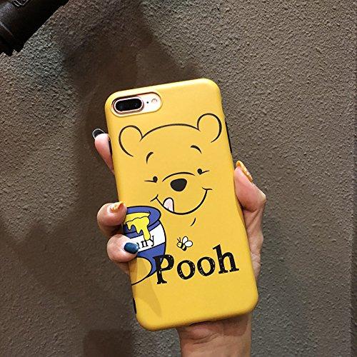 (Ultra Slim Soft TPU Yellow Winnie The Pooh Bear Case for iPhone 7Plus 8Plus 7+ 8+ Shockproof Bling Glitter Shiny Smooth Disney Cartoon Blue Hunny Cute Lovely Cool Girls Women Teens Kids Boys Son)