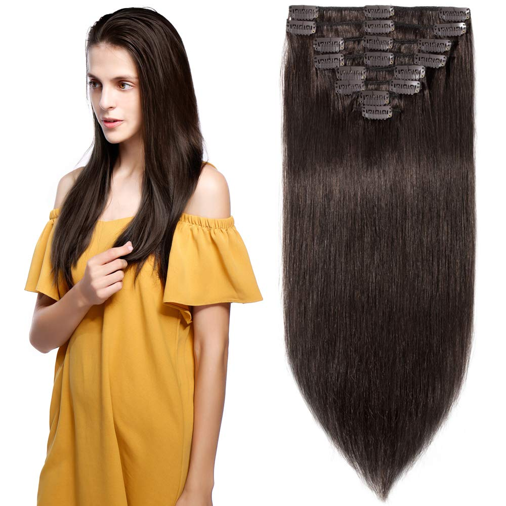 Clip in Hair Extensions Human Hair Full Head 8 Pieces 18 Clips 100% Real Silky Human Hair 13''-80g Dark Brown (#2) by S-noilite