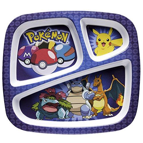 Melamine Plate Divided - Zak Designs POKE-0010 Pokemon Kids Divided Plate, Single, Pikachu