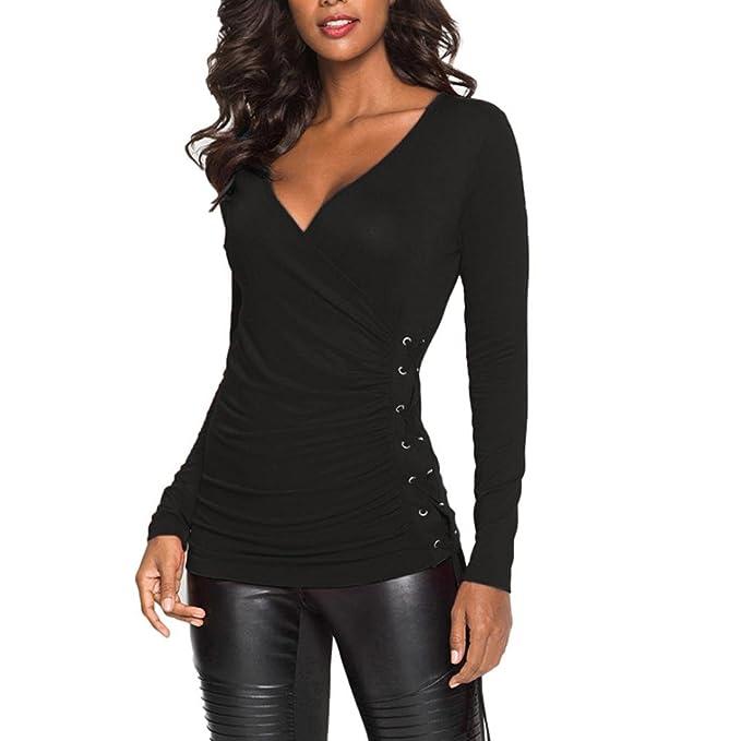 c71068755770 Longra Damen V-Ausschnitt Langarmshirt Figurbetontes Langarm T-Shirts  Damenbluse Elegant Blusen Festliche Blusenshirts