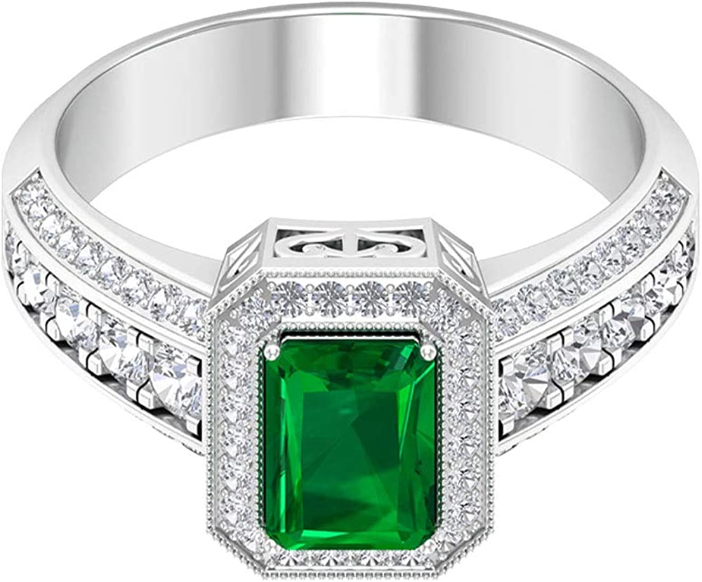Anillo de compromiso esmeralda creado en laboratorio de 0,9 ct, anillo de boda con halo de diamante certificado SGL de 0,84 ct, anillo solitario grabado con cuentas, 14K Oro