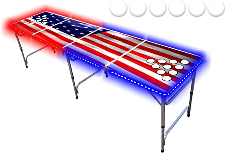 8-Foot Beer Pong Table w/Cup Holes & LED Lights - USA Edition